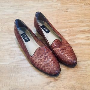 Vintage Leather Woven Loafers